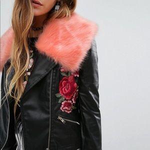 Young Bohemians Floral + Fur Faux Leather Jacket